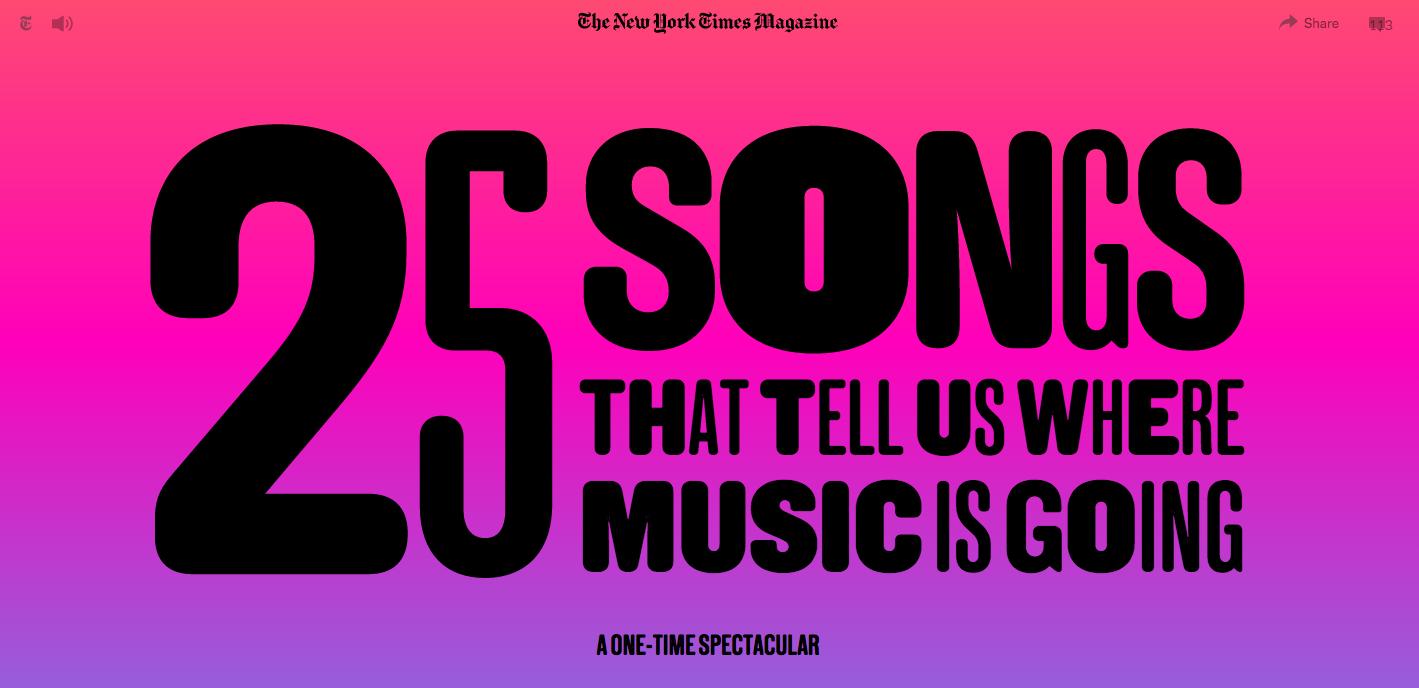 Titelbild von New York Times Magazine: 25 Songs That Tell Us Where Music Is Going